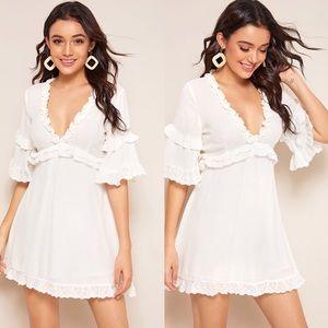 SYLVIA Vneck Dress - WHITE